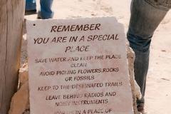 Dana Naturreservat - Hinweis am Eingang zum Zeltplatz