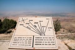 Orientierungshilfe auf dem Berg Nebo mit Blick auf das Jordantal